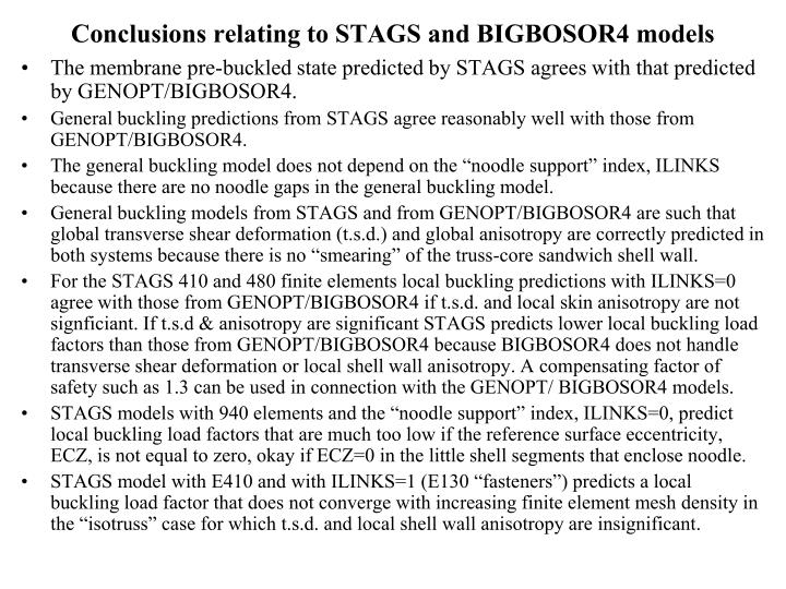 Conclusions relating to STAGS and BIGBOSOR4 models