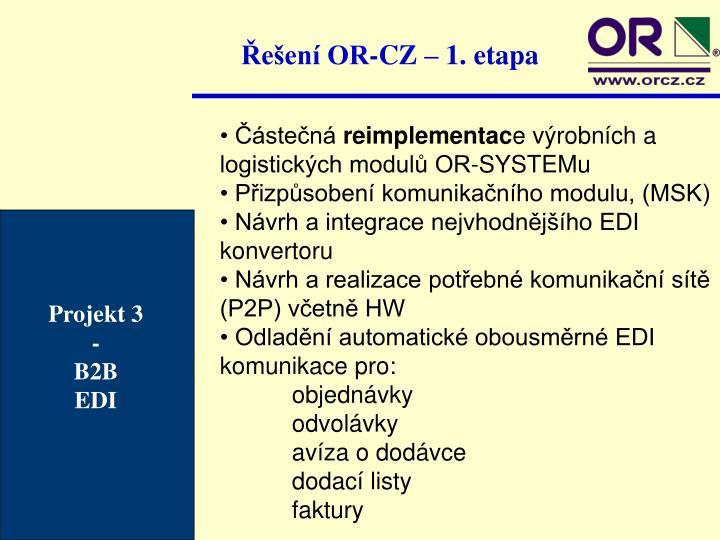 Řešení OR-CZ – 1. etapa