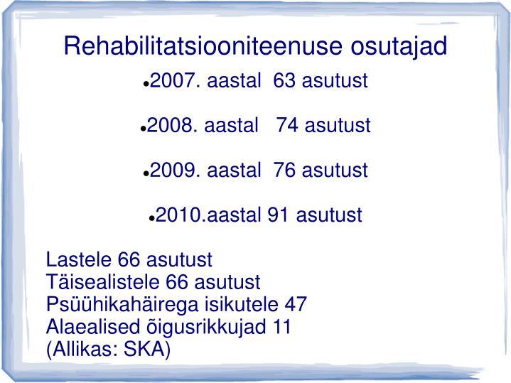 Rehabilitatsiooniteenuse osutajad
