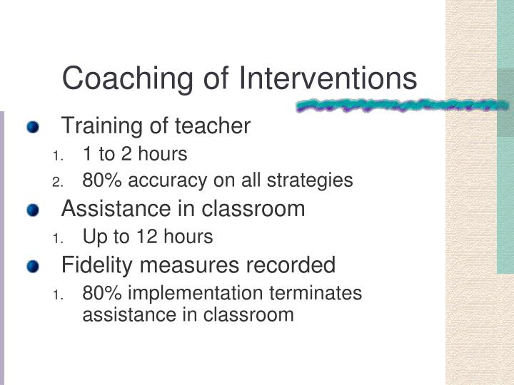 Coaching of Interventions