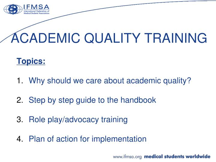 ACADEMIC QUALITY TRAINING