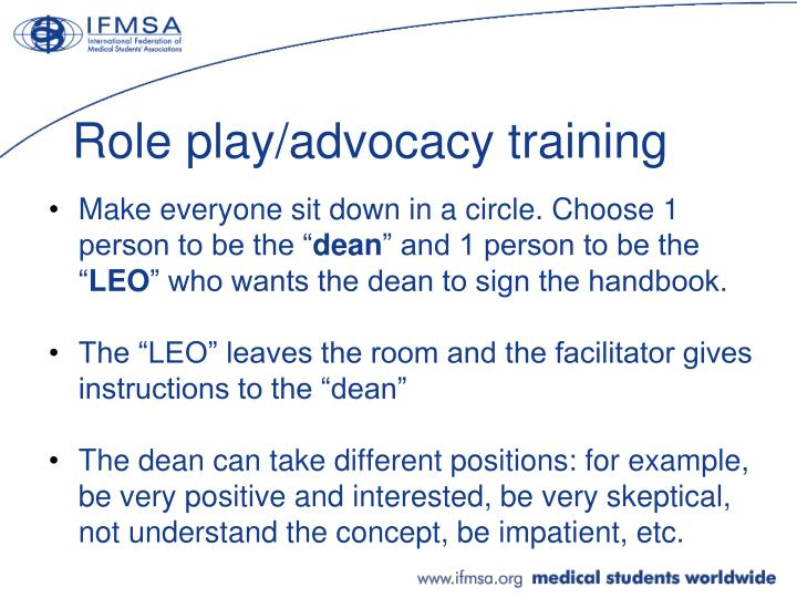 Role play/advocacy training