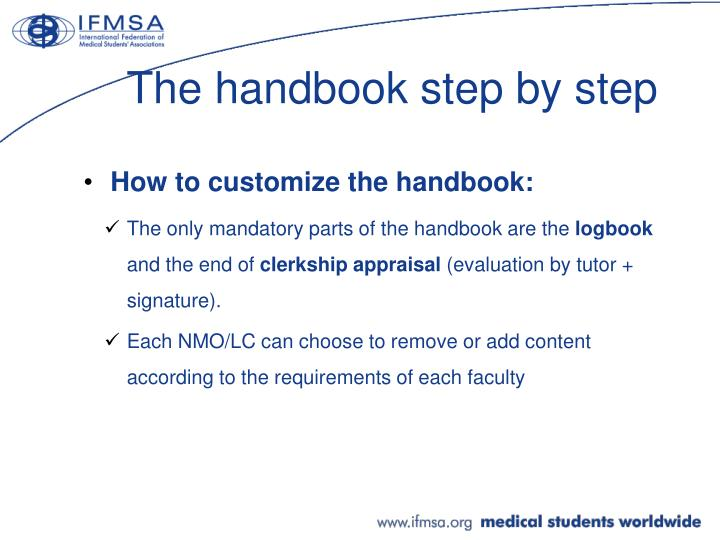 The handbook step by step