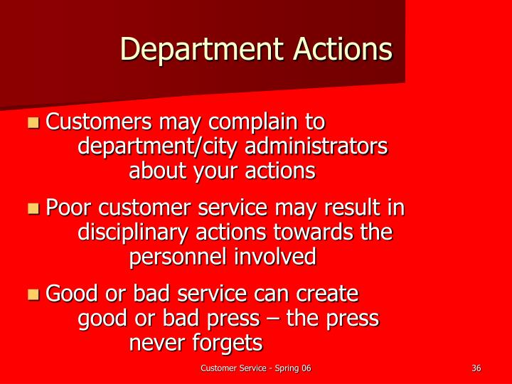 Department Actions