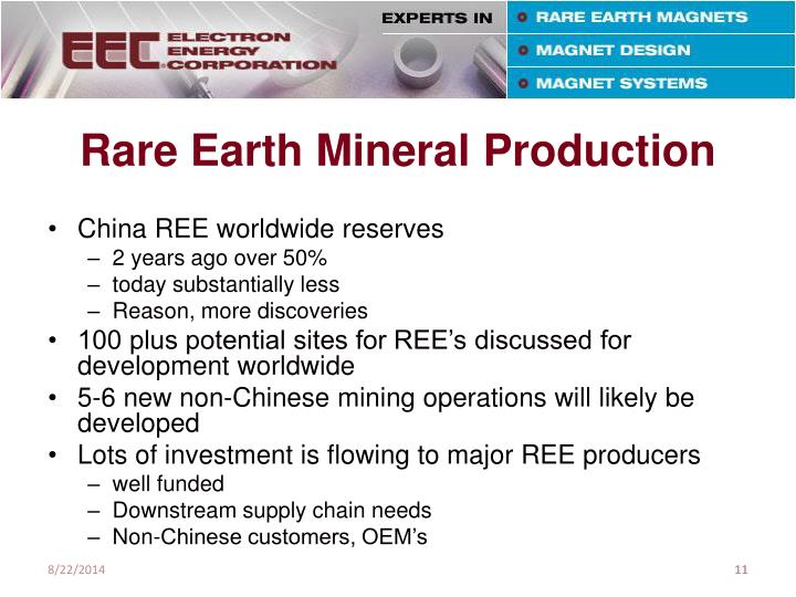 Rare Earth Mineral Production