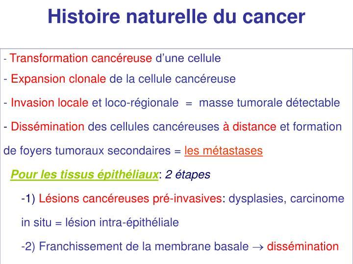 Histoire naturelle du cancer