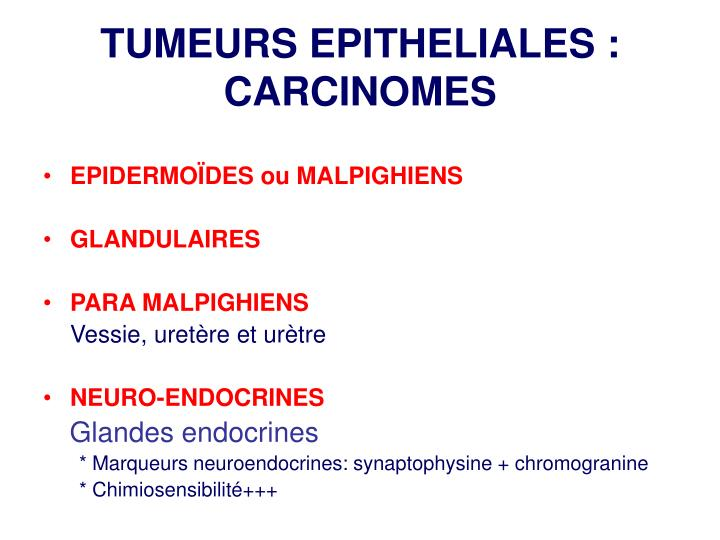 TUMEURS EPITHELIALES : CARCINOMES