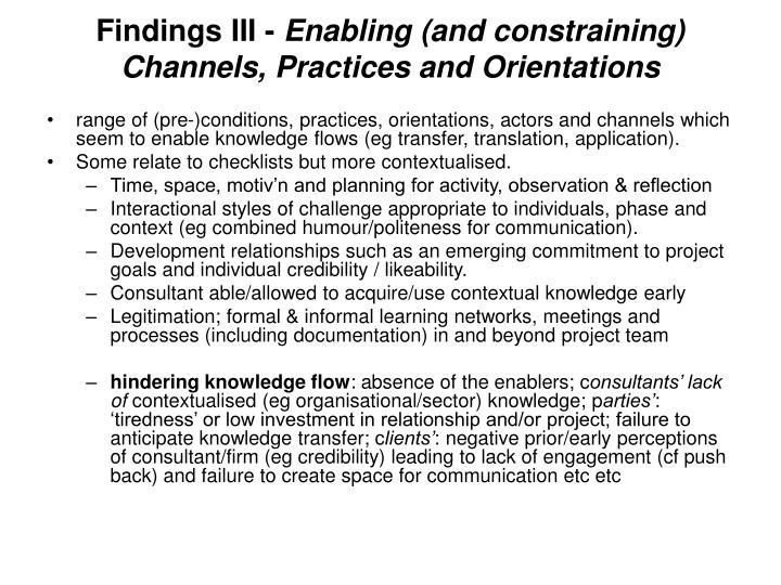 Findings III -