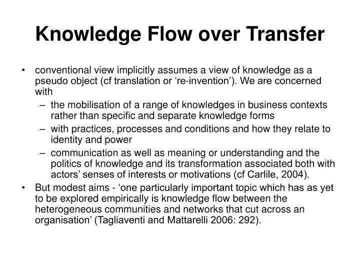 Knowledge Flow over Transfer