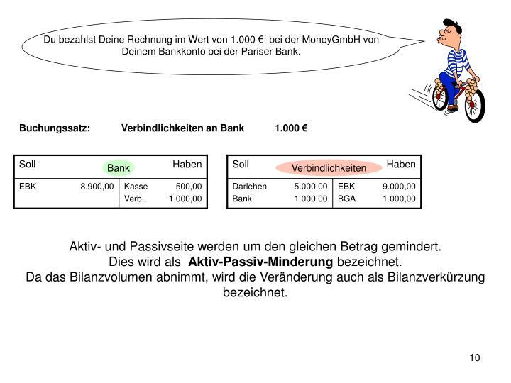 Du bezahlst Deine Rechnung im Wert von 1.000 €  bei der MoneyGmbH von Deinem Bankkonto bei der Pariser Bank.
