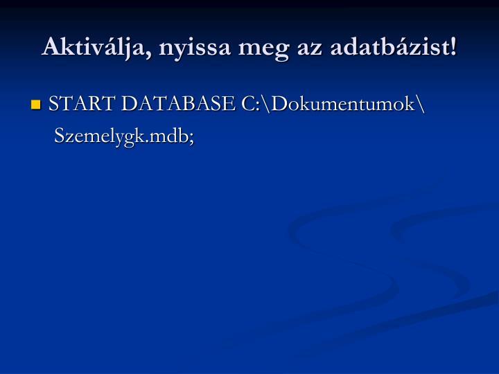 Aktivlja, nyissa meg az adatbzist!