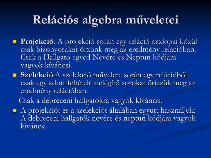 Relcis algebra mveletei