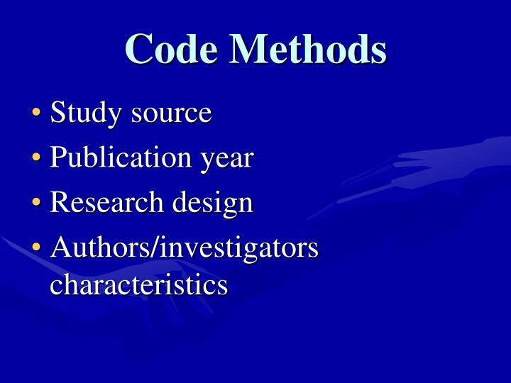 Code Methods