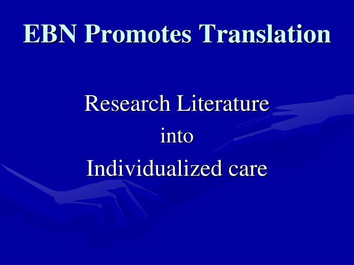 EBN Promotes Translation