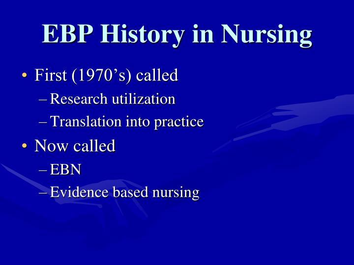 EBP History in Nursing