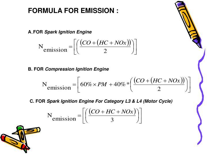 FORMULA FOR EMISSION :