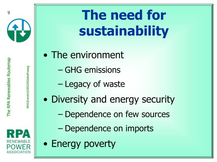 The need for sustainability