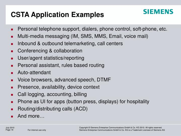 CSTA Application Examples