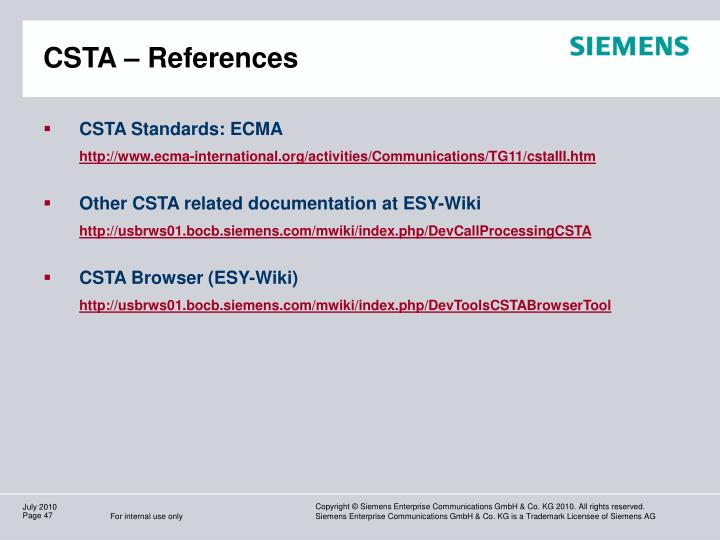 CSTA – References
