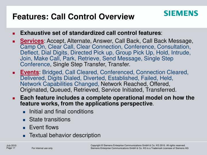 Features: Call Control Overview