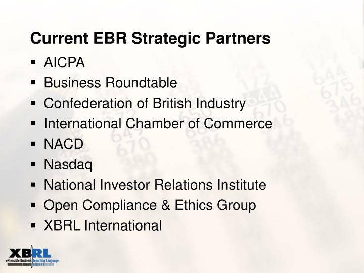 Current EBR Strategic Partners