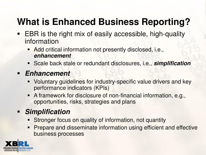 What is enhanced business reporting