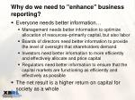 why do we need to enhance business reporting