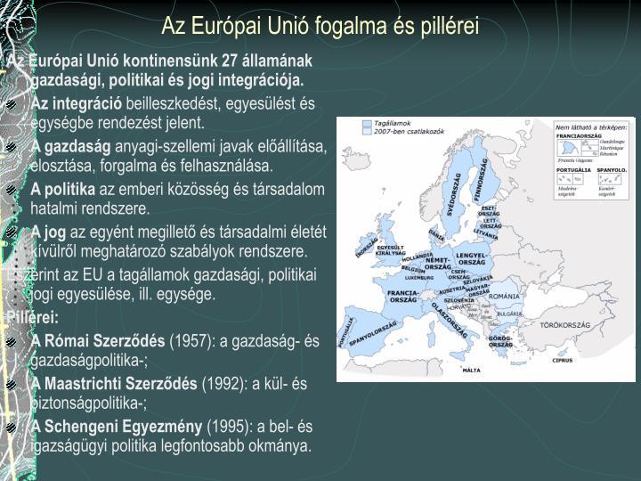 Az Európai Unió fogalma és pillérei