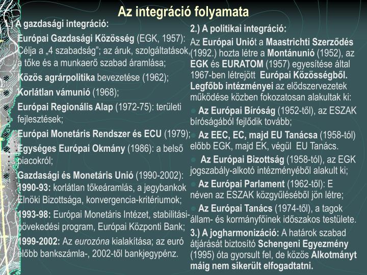 2.) A politikai integráció: