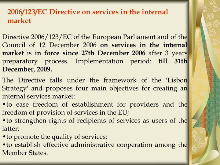 2006 123 ec directive on services in the internal market