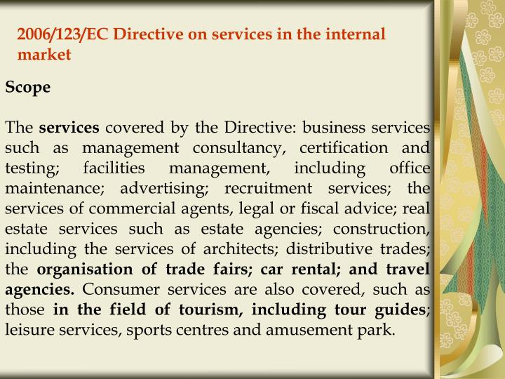 2006/123/EC Directive on services in the internal market