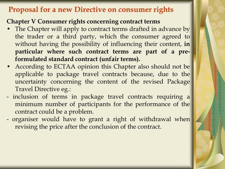 Proposal for a new Directive on consumer rights