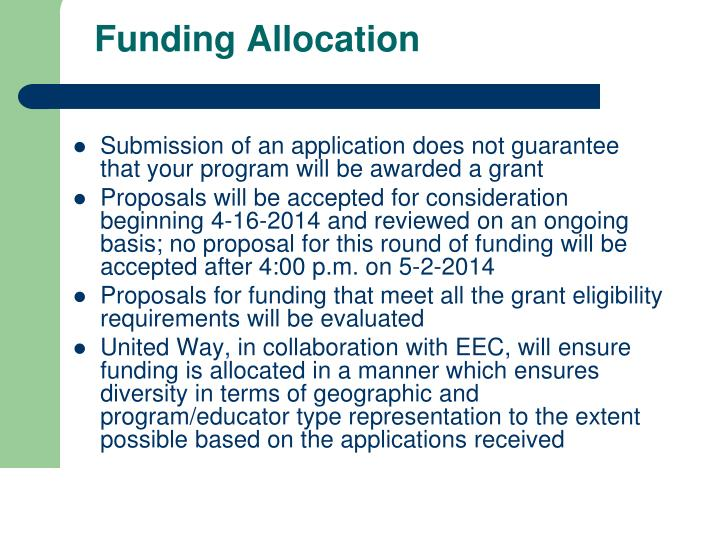 Funding Allocation