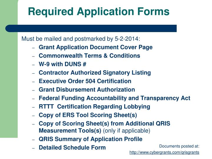 Required Application Forms