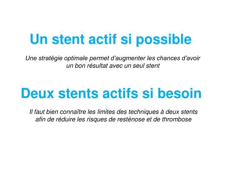 Un stent actif si possible