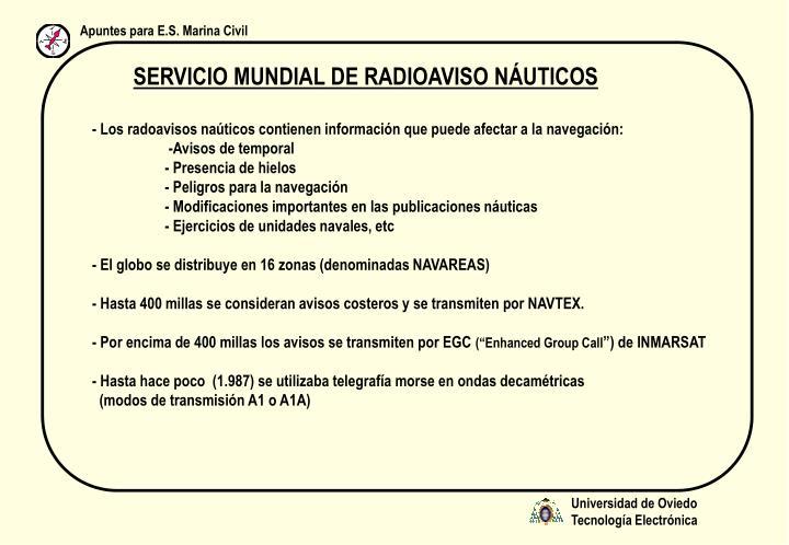 SERVICIO MUNDIAL DE RADIOAVISO NÁUTICOS