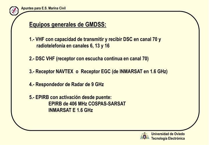 Equipos generales de GMDSS: