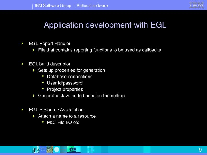 Application development with EGL
