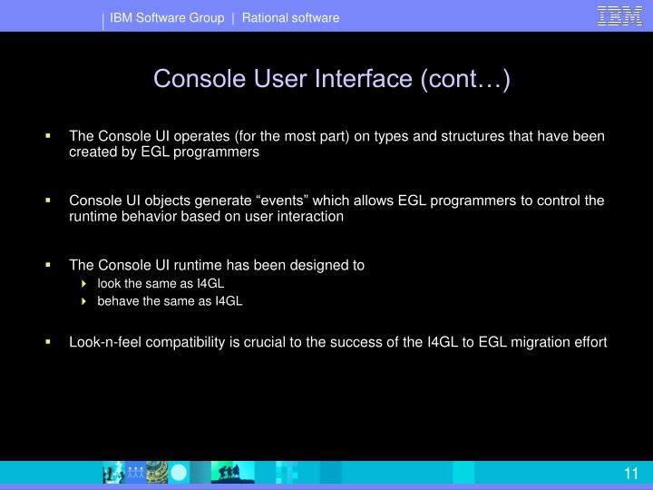 Console User Interface (cont…)