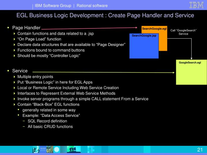 EGL Business Logic Development : Create Page Handler and Service