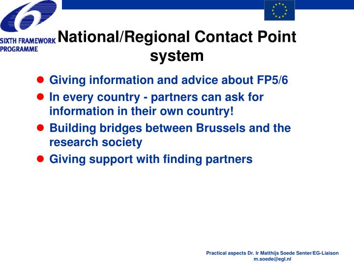 National/Regional Contact Point system
