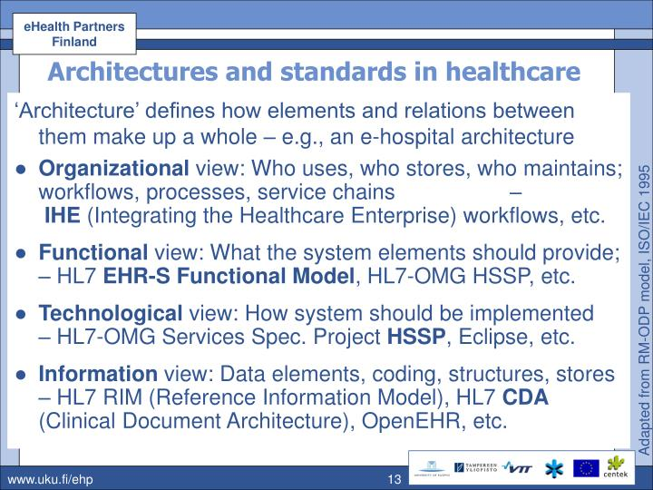 Architectures and standards in healthcare