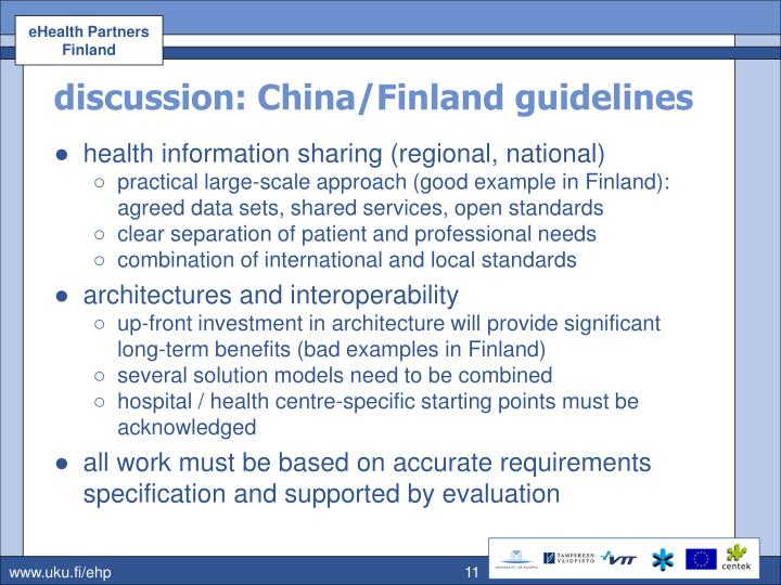 discussion: China/Finland guidelines