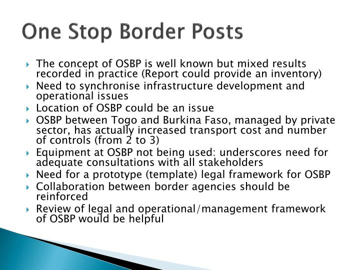 One Stop Border Posts