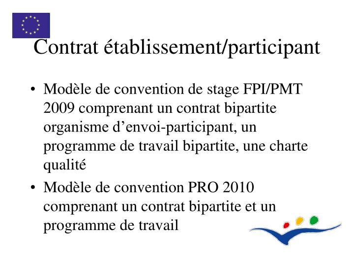 Contrat établissement/participant