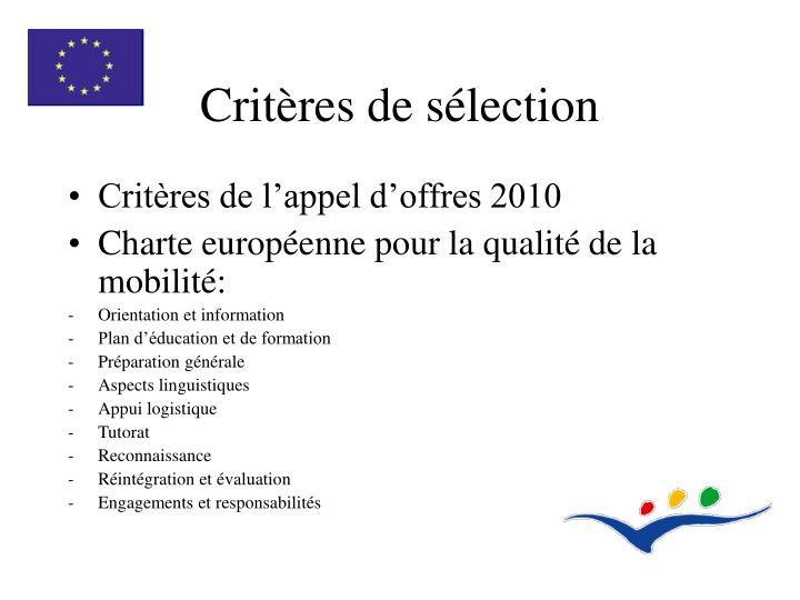 Critères de sélection
