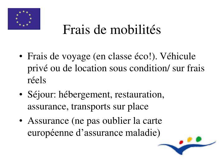 Frais de mobilités