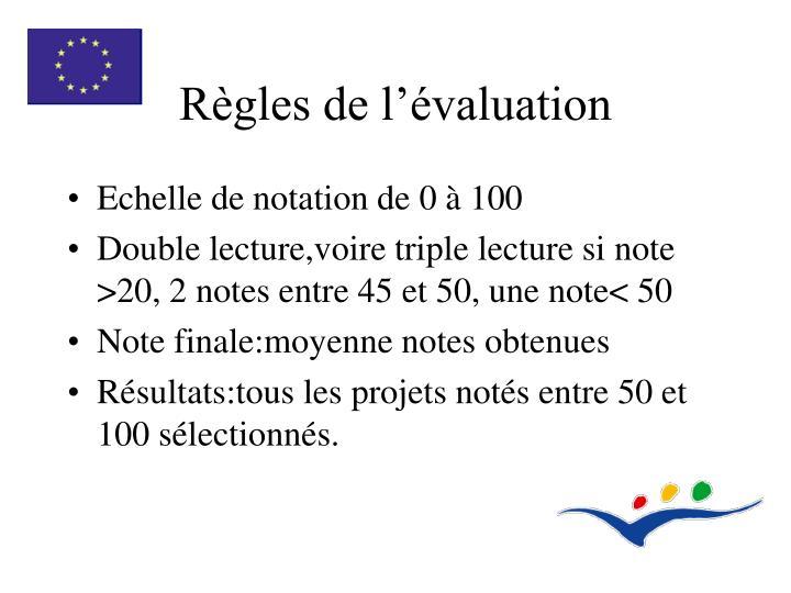 Règles de l'évaluation