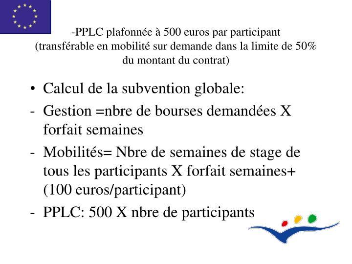 -PPLC plafonnée à 500 euros par participant