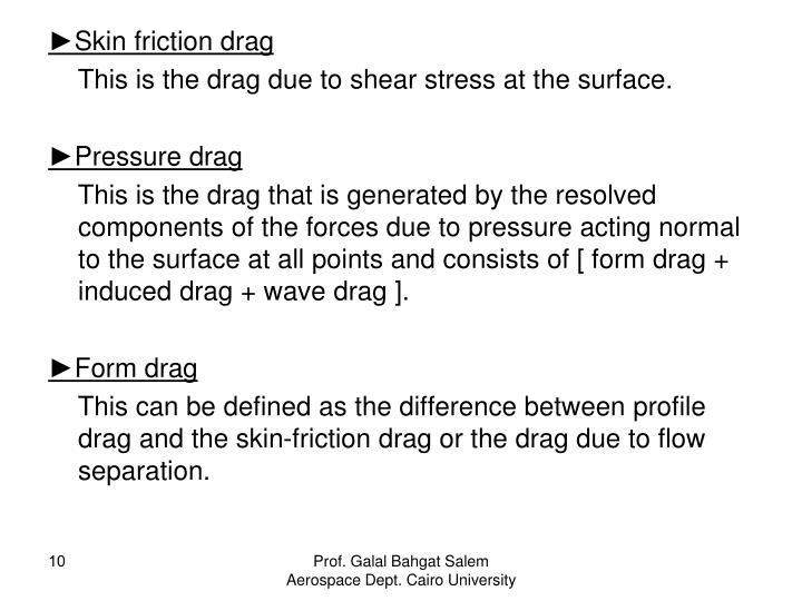 ►Skin friction drag
